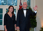 United States Vice President Mike Pence and Karen Pence arrive for the State Dinner hosted by United States President Donald J. Trump and First lady Melania Trump in honor of Prime Minister Scott Morrison of Australia and his wife, Jenny Morrison, at the White House in Washington, DC on Friday, September 20, 2019.<br /> Credit: Ron Sachs / Pool via CNP