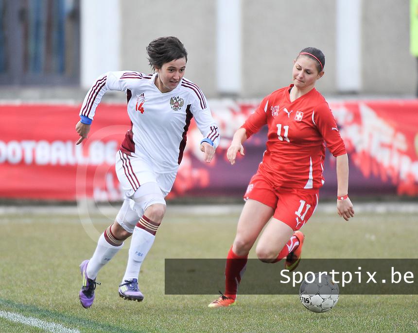 Switzerland U19 - Russia U19 : Russia nr 14  Nasiba Gasanova and Barla Deplazes (right).foto DAVID CATRY / Nikonpro.be