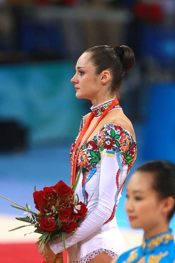 August 23, 2008; Beijing, China; Rhythmic gymnast Anna Bessonova of Ukraine feels emotions of the moment after taking bronze in the Individual All-Around final at 2008 Beijing Olympics..(©) Copyright 2008 Tom Theobald