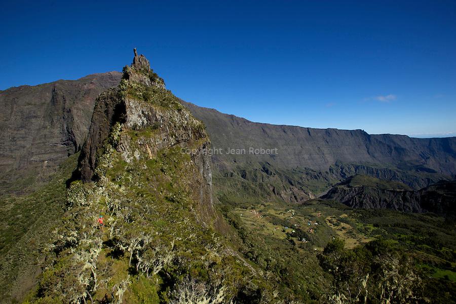 "Climbing of  ""Les trois salazes"" rocky crest between Cilaos and Mafate. La reunion sland"