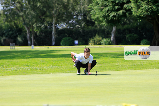 Patrick Somers (Grange) on the 1st green during the play-off in Round 2 of the Ulster U16 Boys Open at Dungannon Golf Club on Thursday 13th August 2015.<br /> Picture:  Thos Caffrey / www.golffile.ie