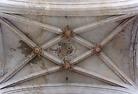 OISE, FRANCE - OCTOBER 26: Coat of arms, detail of the ceiling of the transept of the Cathedral Notre-Dame de Senlis on October 26, 2008 in Oise, France. The cathedral was built between 1153 and 1191. (Photo by Manuel Cohen)