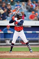 Syracuse Chiefs designated hitter Irving Falu (10) at bat during a game against the Scranton/Wilkes-Barre RailRiders on June 14, 2018 at NBT Bank Stadium in Syracuse, New York.  Scranton/Wilkes-Barre defeated Syracuse 9-5.  (Mike Janes/Four Seam Images)