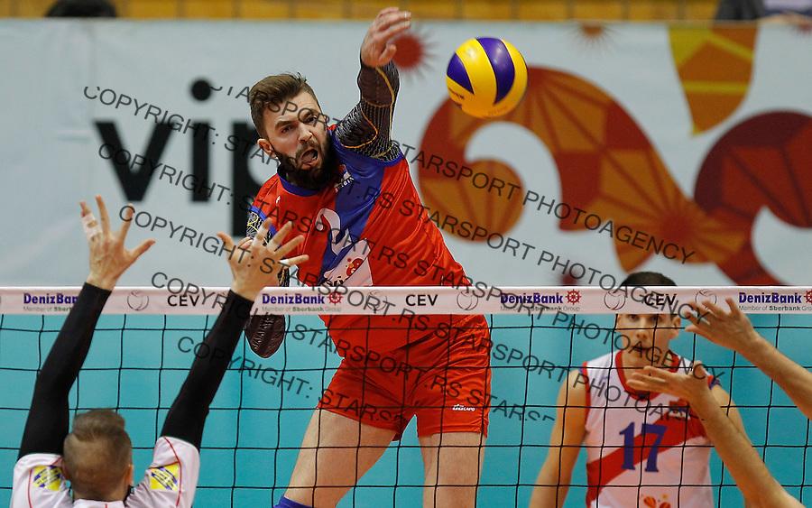 Odbojka Volleyball<br /> Srbija v Bugarska-Prijateljski mec<br /> Uros Kovacevic (C)<br /> Beograd, 29.12.2015.<br /> foto: Srdjan Stevanovic/Starsportphoto &copy;