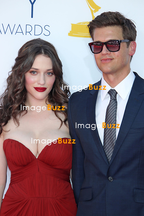 Kat Dennings, Nick Zano, The 64th Annual Primetime Emmy Awards arrivals at the Nokia Theatre, L.A. Live in Los Angeles. September 23, 2012.