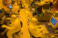Photography of state-of-the-art wafer-level processes in a clean room manufacturing and R&D room at Tessera's Charlotte, NC, operations. The imaging and optics company makes wafer-level optics, image sensor packaging and ?smart? image enhancement technologies, and micro-optic solutions.