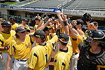 4 JUNE 2016: Millersville University players huddle before their game against Nova Southeastern University during the Division II Men's Baseball Championship held at the USA Baseball National Training Complex in Cary, NC.  Nova Southeastern University defeated Millersville University 8-6 to win the national title. Grant Halverson/NCAA Photos