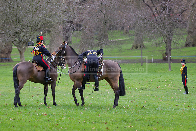 06/02/2013. London, UK. A member of the King's Troop Royal Horse Artillery, struggles to get back on his horse after taking part in a 41 Gun Royal Salute in Green Park to mark the 61st Anniversary of the Accession of Her Majesty The Queen. Photo credit: Matt Cetti-Roberts