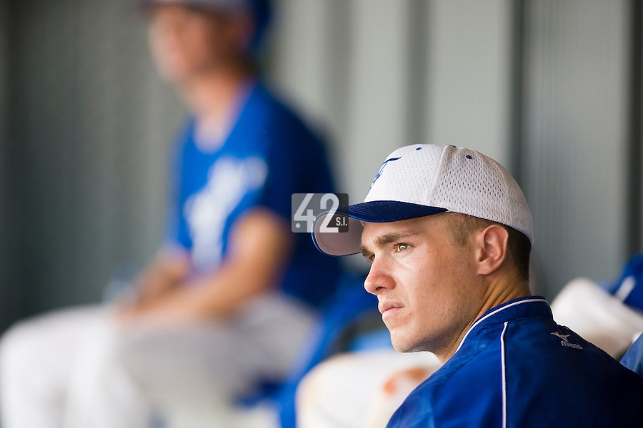 18 August 2007: Pitcher #21 Patrick Carlson sits in the dugout prior to the China 5-1 victory over France in the Good Luck Beijing International baseball tournament (olympic test event) at the Wukesong Baseball Field in Beijing, China.