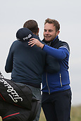 6th October 2017, Carnoustie Golf Links, Carnoustie, Scotland; Alfred Dunhill Links Championship, second round; England's Tyrrell Hatton, winner in 2016, hugs amateur parent Actor Jamie Dornan after posting an 11 under score to take the lead at the Alfred Dunhill Links Championship on the Championship Links, Carnoustie