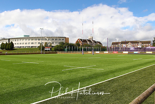 12.09.2015. Loughborough, England. <br /> <br /> General views of the new 1st Team Pitch at Loughborough Students RFC, following major investment in the installation of an all-weather playing surface and associated barriers and hard standing installed at Loughborough University.