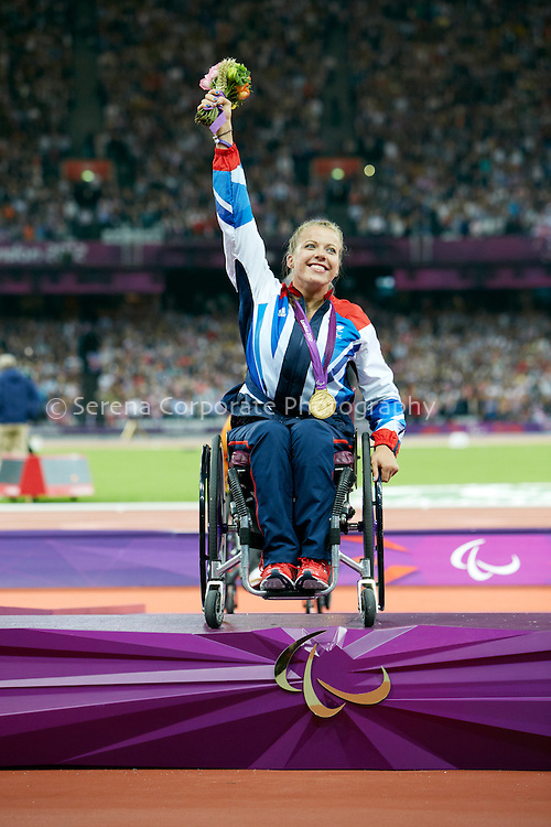 Great Britain's Hannah Cockcroft receives her gold medal for her Paralympic Record breaking performance in the women's T34 200m final..London Paralympic Games - Athletics 6.9.12