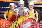 Orla Cronin, David Moriarty, Rachel Healy and Peter O'Sullivan, Lissivigeen National School, pictured with Christy McCarthy, Kerry Mountain Rescue Team, during their class visit to the rescue station on Friday...