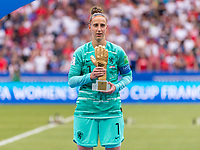 LYON,  - JULY 7: Sari van Veenendaal #1 holds her trophy during a game between Netherlands and USWNT at Stade de Lyon on July 7, 2019 in Lyon, France.