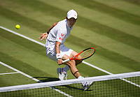 Kei Nishikori (9) of Japan in action during his defeat by Roberto Bautista Agut (18) of Spain in their Men's Singles Third Round Match today<br /> <br /> Photographer Ashley Western/CameraSport<br /> <br /> Wimbledon Lawn Tennis Championships - Day 5 - friday 7th July 2017 -  All England Lawn Tennis and Croquet Club - Wimbledon - London - England<br /> <br /> World Copyright &not;&copy; 2017 CameraSport. All rights reserved. 43 Linden Ave. Countesthorpe. Leicester. England. LE8 5PG - Tel: +44 (0) 116 277 4147 - admin@camerasport.com - www.camerasport.com