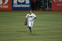 Hillsboro Hops center fielder Jorge Perez (16) pursues a fly ball during a Northwest League game against the Salem-Keizer Volcanoes at Ron Tonkin Field on September 1, 2018 in Hillsboro, Oregon. The Salem-Keizer Volcanoes defeated the Hillsboro Hops by a score of 3-1. (Zachary Lucy/Four Seam Images)