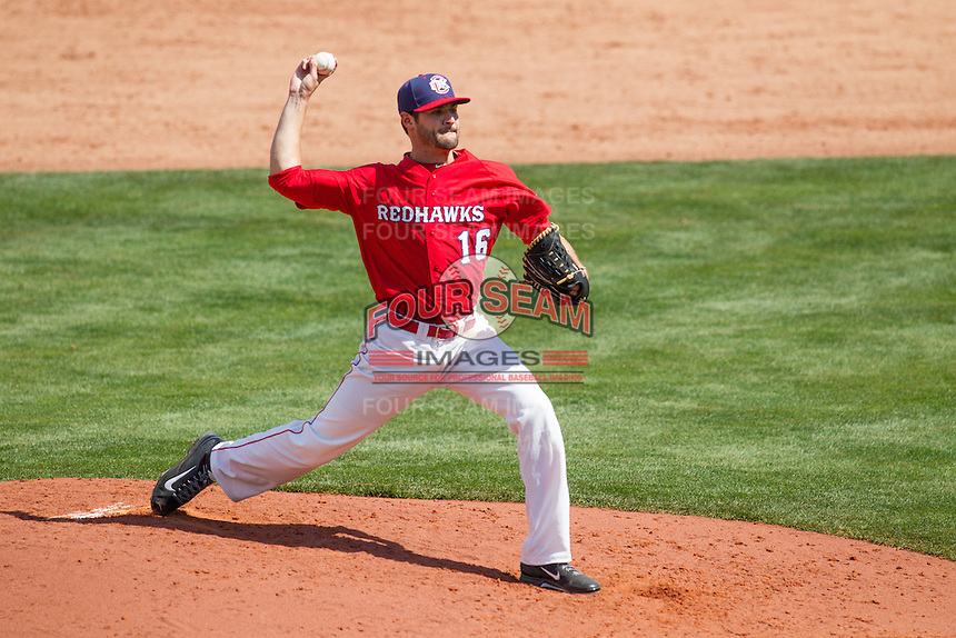 Oklahoma City RedHawks pitcher Nick Tropeano (16) pitching during the Pacific League game at the Chickasaw Bricktown Ballpark against the New Orleans Zephyrs on April 13, 2014 in Oklahoma City, Oklahoma.  The RedHawks defeated the Zephyrs 4-3.  (William Purnell/Four Seam Images)