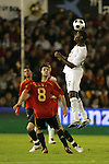 04 June 2008: Maurice Edu (USA) (right) heads the ball as two Spain players look on. The Spain Men's National Team defeated the United States Men's National Team 1-0 at Estadio Municipal El Sardinero in Santander, Spain in an international friendly soccer match.