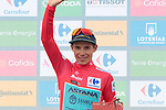 Miguel Angel Lopez Moreno (COL) Astana Pro Team retakes the race leaders Red Jersey at the end of Stage 7 of La Vuelta 2019 running 183.2km from Onda to Mas de la Costa, Spain. 30th August 2019.<br /> Picture: Colin Flockton | Cyclefile<br /> <br /> All photos usage must carry mandatory copyright credit (© Cyclefile | Colin Flockton)