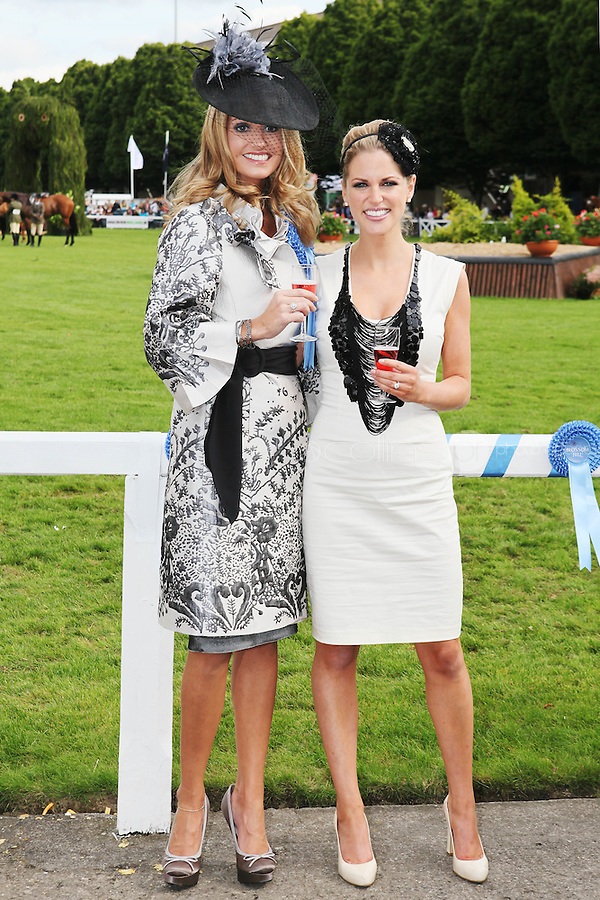 5/8/2010.Blossom Hill Ladies Day. Amy Huberman and winner of the best dressed Lady Yvonne Ellard from Tipperary are pictured at the Blossom Hill Ladies Day at the Fáilte Ireland Dublin Horse Show at RDS. Picture James Horan/Collins Photos