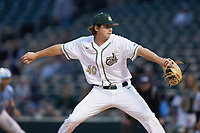 Charlotte 49ers starting pitcher Chase Gooding (40) in action against the North Carolina Tar Heels at BB&T BallPark on March 27, 2018 in Charlotte, North Carolina. The Tar Heels defeated the 49ers 14-2. (Brian Westerholt/Four Seam Images)