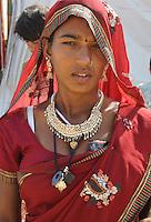 woman visiting  camel fair in holy city Pushkar, Rajastan, India
