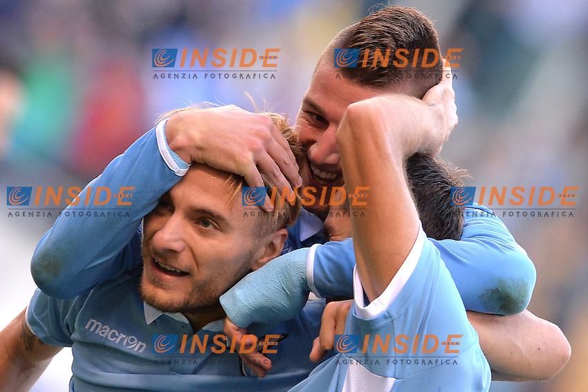 Esultanza dopo il gol di Senad Lulic Lazio, con Immobile e Milinkovic. Goal celebration.<br /> Roma 30-10-2016  Stadio Olimpico<br /> Campionato Serie A,<br /> Lazio - Sassuolo<br /> Foto Antonietta Baldassarre / Insidefoto