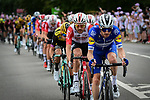 The peloton lined out during Stage 1 of the 2019 Tour de France running 194.5km from Brussels to Brussels, Belgium. 6th July 2019.<br /> Picture: ASO/Alex Broadway | Cyclefile<br /> All photos usage must carry mandatory copyright credit (© Cyclefile | ASO/Alex Broadway)