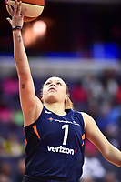 Washington, DC - June 3, 2018: Connecticut Sun guard Rachel Banham (1) goes up for a lay up during game between the Washington Mystics and Connecticut Sun at the Capital One Arena in Washington, DC. (Photo by Phil Peters/Media Images International)