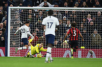 30th November 2019; Tottenham Hotspur Stadium, London, England; English Premier League Football, Tottenham Hotspur versus AFC Bournemouth; Dele Alli of Tottenham Hotspur shoots and scores his second goal in 51st minute 2-0  - Strictly Editorial Use Only. No use with unauthorized audio, video, data, fixture lists, club/league logos or 'live' services. Online in-match use limited to 120 images, no video emulation. No use in betting, games or single club/league/player publications
