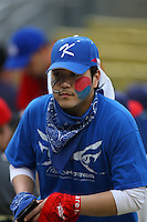 Korea fan during a game between Korea and Venezuela at the World Baseball Classic at Dodger Stadium on March 21, 2009 in Los Angeles, California. (Larry Goren/Four Seam Images)