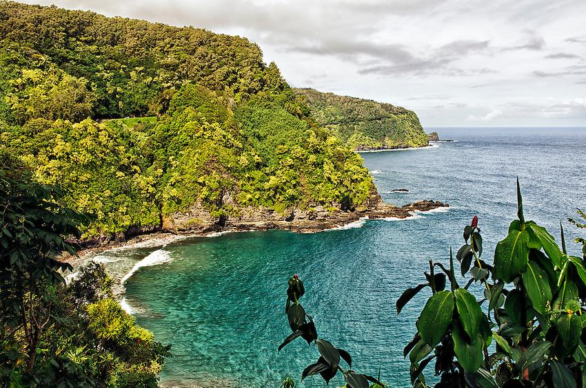 The Ke'anae (Keanae) Peninsula, as seen from the side of the Hana Highway, Maui, Hawaii
