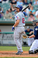 Round Rock Express catcher Jose Felix #12 during a game against the New Orleans Zephyrs on April 15, 2013 at Zephyr Field in New Orleans, Louisiana.  New Orleans defeated Round Rock 3-2.  (Mike Janes/Four Seam Images)