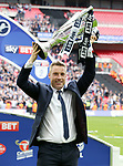 Millwall's Neil Harris celebrates with the trophy during the League One Play-Off Final match at Wembley Stadium, London. Picture date: May 20th, 2017. Pic credit should read: David Klein/Sportimage