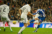 Real Madrid´s Raphael Varane and Deportivo de la Coruna's Oriol Riera during 2014-15 La Liga match between Real Madrid and Deportivo de la Coruna at Santiago Bernabeu stadium in Madrid, Spain. February 14, 2015. (ALTERPHOTOS/Luis Fernandez) /NORTEphoto.com