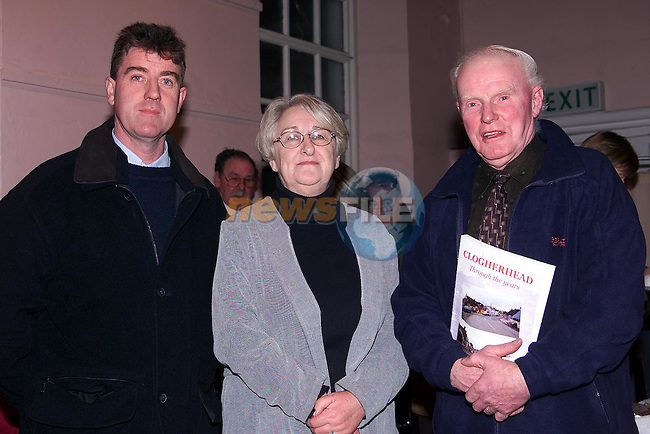 Brian Rogers, Kathleen Briggs and Paddy Murphy at the launch of 'Clogherhead, through the years' book in the Parochial Centre Clogherhead,.Picture: Paul Mohan/Newsfile