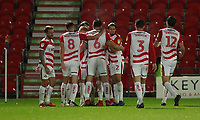 Doncaster Rovers' celebrate scoring there sides first goal<br /> <br /> Photographer Rachel Holborn/CameraSport<br /> <br /> The EFL Sky Bet League One - Doncaster Rovers v Blackpool - Tuesday 27th November 2018 - Keepmoat Stadium - Doncaster<br /> <br /> World Copyright &copy; 2018 CameraSport. All rights reserved. 43 Linden Ave. Countesthorpe. Leicester. England. LE8 5PG - Tel: +44 (0) 116 277 4147 - admin@camerasport.com - www.camerasport.com