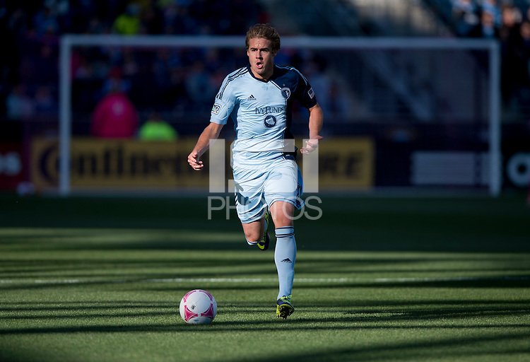 Chance Myers (7) of Sporting Kansas City brings the ball forward during a Major League Soccer game at PPL Park in Chester, PA. Sporting Kansas City defeated the Philadelphia Union, 2-1.