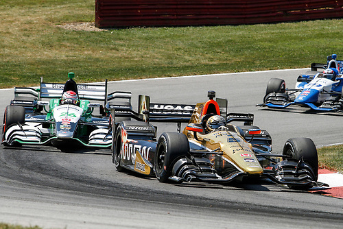 31 July - 2 August, 2015, Lexington, Ohio USA<br /> Ryan Briscoe leads Carlos Munoz and Tristan Vautier<br /> ©2015, Sam Cobb<br /> LAT Photo USA