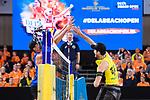 06.01.2019, Den Haag, Sportcampus Zuiderpark<br />Beachvolleyball, FIVB World Tour, 2019 DELA Beach Open, Halbfinale<br /><br />Block Robert Meeuwsen (#2 NED) - Angriff Clemens Wickler (#2)<br /><br />  Foto &copy; nordphoto / Kurth