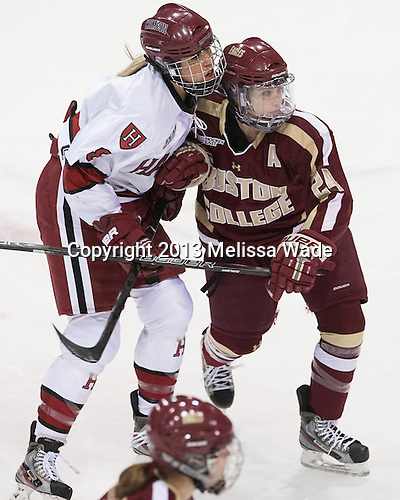 Hillary Crowe (Harvard - 8), Meagan Mangene (BC - 24) - The Boston College Eagles defeated the Harvard University Crimson 2-1 in the 2013 Beanpot opening round on Tuesday, February 5, 2013, at Matthews Arena in Boston, Massachusetts.