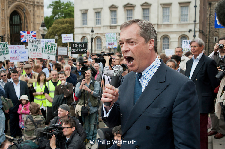 UKIP Leader Nigel Farage.  The Taxpayers Alliance Rally against Debt, Westminster.