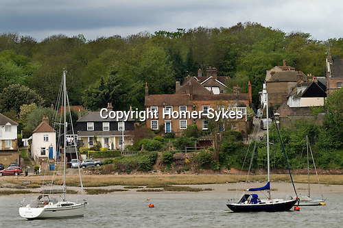 Upnor village Kent UK. From across the river Medway seen from Chatham.