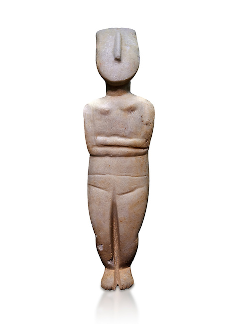 Female figurine statuette: Cycladic Canonical type, combining Dokathismata and Spedos variety. Early Cycladic Period II, (2800-2300 BC), 'Steiner Master'.  Museum of Cycladic Art Athens, cat no 283.  Against white.