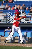 Batavia Muckdogs first baseman Eric Fisher (29) at bat during a game against the Mahoning Valley Scrappers on June 23, 2015 at Dwyer Stadium in Batavia, New York.  Mahoning Valley defeated Batavia 11-2.  (Mike Janes/Four Seam Images)