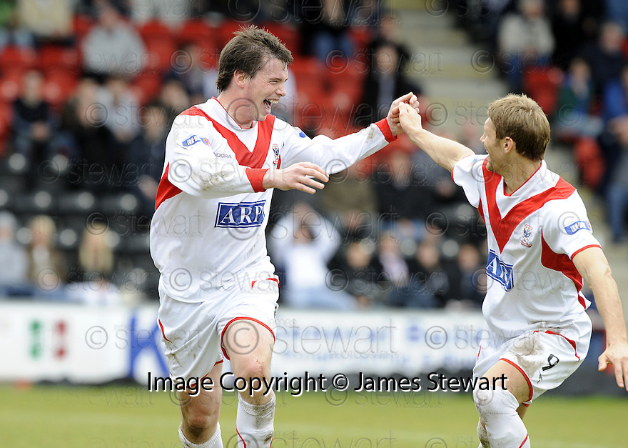 03/05/2008   Copyright Pic: James Stewart.File Name : sct_jspa09_airdrie_v_raith.BOBBY DONNELLY CELEBRATES WITH ALLAN RUSSELL AFTER HE SCORES AIRDRIE'S SECOND.James Stewart Photo Agency 19 Carronlea Drive, Falkirk. FK2 8DN      Vat Reg No. 607 6932 25.Studio      : +44 (0)1324 611191 .Mobile      : +44 (0)7721 416997.E-mail  :  jim@jspa.co.uk.If you require further information then contact Jim Stewart on any of the numbers above........