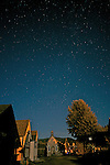 Barkerville at night. Barkerville Historic Town, B.C. under a starry summer night sky.