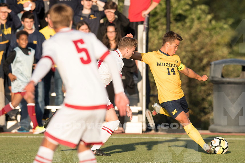 The University of Michigan men's soccer team beat Wisconsin, 2-1, at the UM Soccer Stadium in Ann Arbor on Sept, 8, 2017.