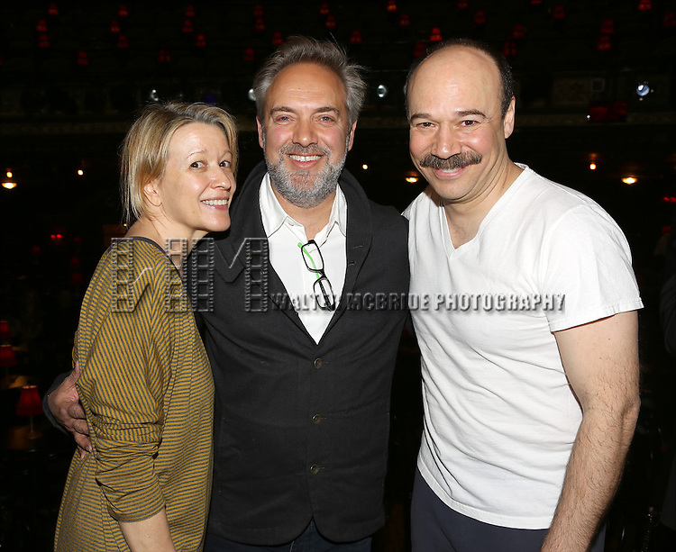 Linda Emond, Sam Mendes and Danny Burstein during the Broadway Opening Night Gypsy Robe Ceremony honoring Andrea Goss for 'Cabaret' at Studio 54 on April 24, 2014 in New York City.