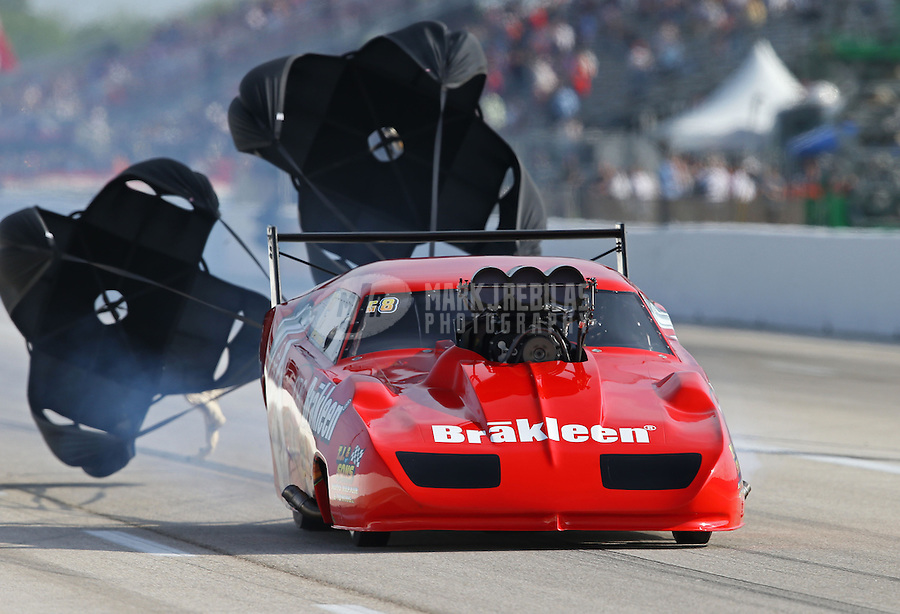 Apr. 26, 2013; Baytown, TX, USA: NHRA pro mod driver Peter Farber during qualifying for the Spring Nationals at Royal Purple Raceway. Mandatory Credit: Mark J. Rebilas-